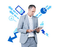 Business Man Working Holding Digital Tablet Stock Photography