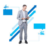 Business Man Working Holding Digital Tablet Royalty Free Stock Image