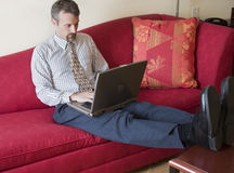 Business man working in hotel room Royalty Free Stock Photo