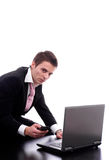 Business man working with laptop Stock Photo