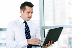 Business man working on laptop royalty free stock photos