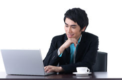 A business man working with laptop Stock Image
