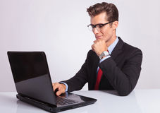 Business man working at laptop Royalty Free Stock Photos