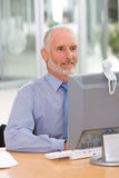 Business man working on laptop Stock Images