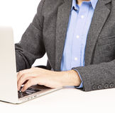 Business man working laptop closeup Royalty Free Stock Photo