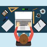 Business man working with laptop and documents. Office workplace. Business man working with laptop and documents on table, top view. Flat design cartoon style Royalty Free Stock Images