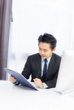 Business man working with notepad Royalty Free Stock Images