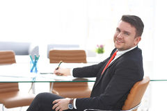Business man working at office with laptop and documents on his desk. Consultant lawyer concept Stock Photo