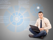 Business Man Working On A Laptop Royalty Free Stock Image
