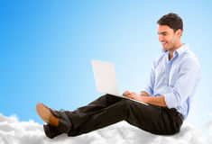 Business man working from the cloud Stock Image