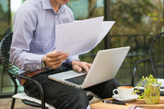 business man working in outdoor using laptop Royalty Free Stock Image