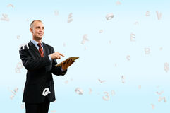 Business man is working with tablet Royalty Free Stock Images