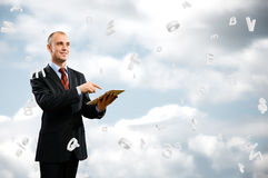 Business man is working with tablet Stock Images