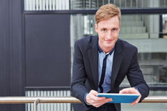Business man working with tablet PC Stock Photo