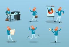 Business Man Working Time Management, Finance Marketing Presentation Set Stock Image