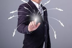 Business man working with virtual interface use for Logistics Royalty Free Stock Photography