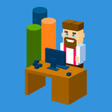 Business Man Workplace Desktop Office With Chart Bar 3d Isometric. Flat Design Vector Illustration Stock Images