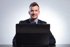 Business man works at his laptop Royalty Free Stock Photo