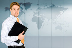 Business man - world map Stock Photography