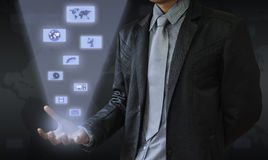 Business man. In this world of modern communications to the world Royalty Free Stock Photography
