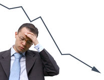 Business man worries with graph - isolated Stock Photos