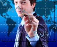 Business Man write graph Stock Image