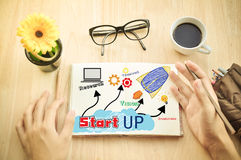 Business man write Notebook word Start up Stock Photography