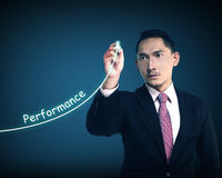 Business man write performance Stock Photography