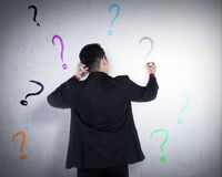 Business man write question mark on the wall Royalty Free Stock Photos