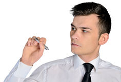Business man write something. Isolated business man write something Royalty Free Stock Photography