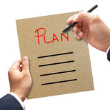Business man writing blank plan list Stock Photos