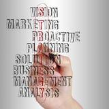 Business man writing business strategy Stock Photo