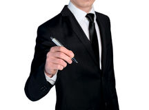 Business man writing closeup Stock Images