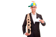 Business man writing coaching concept abc bussiness Royalty Free Stock Images