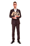 Business man writing coaching concept abc letters Stock Photography
