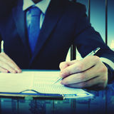 Business Man Writing On A Conference Table Concept Royalty Free Stock Image
