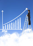 Business man writing growth bar chart. With sky background Stock Photos