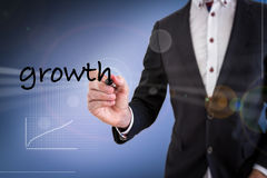 Business Man Writing Growth Stock Image