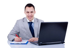Business man writing note Royalty Free Stock Photos