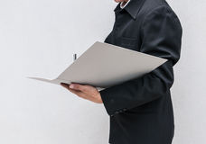 Business man writing a note at work Royalty Free Stock Photo