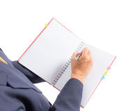 Business man writing on notebook Royalty Free Stock Photos