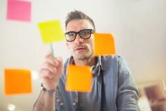 Free Business Man Writing On Stickers Stock Photos - 81225503