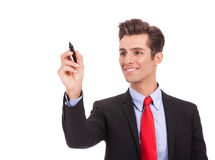 Business man writing something  with marker Stock Photography
