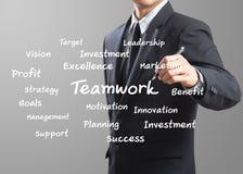 Business man writing Teamwork Royalty Free Stock Photo