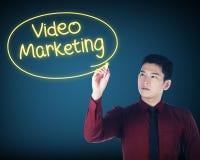 Business man writing video marketing Stock Photography