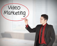 Business man writing video marketing Stock Images