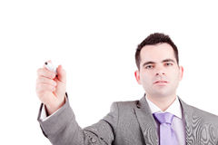 Business man writing on white board stock image