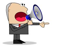 Business man yells in a megaphone Royalty Free Stock Photo