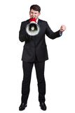 Business man. Young man shouting into a megaphone over a white background Stock Photo