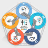 Business management circle origami style options banner. Vector illustration. can be used for workflow layout, diagram, number options, step up options, web Stock Photos